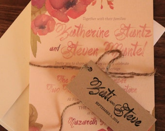 Rustic Floral Wedding Invitation Set - Custom Made to Order