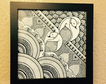 HENNA ART - Henna, Frame, Madhubani, Art, Drawing, Black, White, Wall Decor, Home Decor, Gift