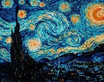 """Van Gogh's """"Starry Night"""". Cross Stitch"""