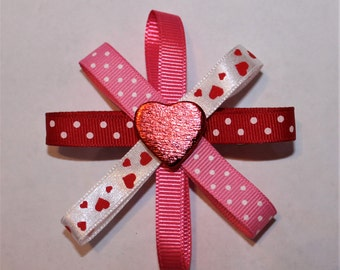 Pink, Red, White Hair Clip Barrette