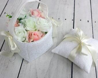 White sequin flower girl basket and ring pillow