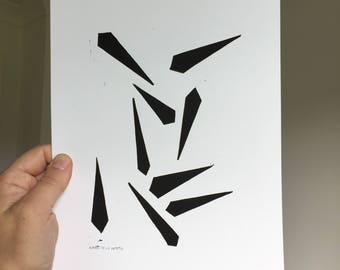Linocut print, A4