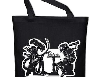 Alien vs Predator chess chess tote bag, canvas bag