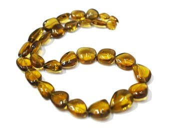 AAA Quality Natural Beer quartz smooth nugget \ 17.5 inch strand approx \ 10.00-20.00 mm