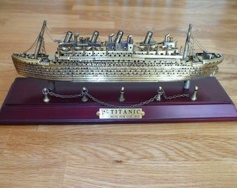 Brass Titanic White Star Line Model Mounted on a Mahogany Plinth