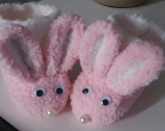wool Baby Pink White bunny slippers