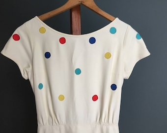 Vintage, Ivory and polka dot, Dress