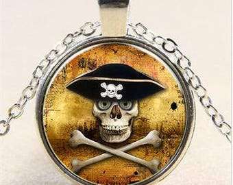 Skull Pirate Dome Pendant Necklace