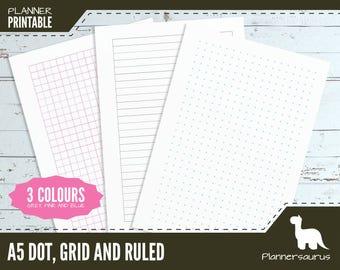A5 Dot grid planner paper printable | bullet journal | BuJo | A5 planner | grid template | ruled paper instant download | planner grid line
