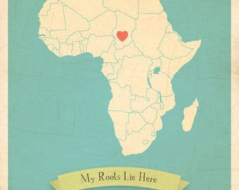 Map Artwork, Map Wall Decor, Map Artwork, 11x14, Customized Print, Africa Roots Map
