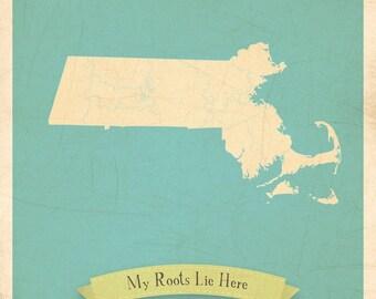 Map Nursery Art, Map Art Print, Map Wall Art, Massachusetts Roots Map, 11x14, Customized Print