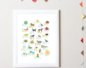 Dutch Alphabet Print 11x14 Nursery Wall Art, Nature Themed, Kid's Art Decor, Gender Neutral Nursery, ABC, Children's Room