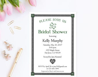 Irish Bridal Shower Invitation Template,  Printable Wedding Shower Invites, Instant Download Editable PDF Template #WCT-03