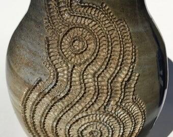 Carved High-Fire Vase