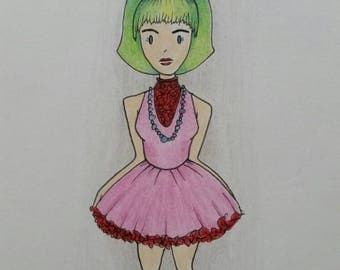 Green Haired Girl Original Drawing