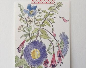 Original watercolour painting - garden bouquet