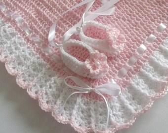 Crochet Baby Girl Set Blanket / Afghan & Booties Pink White Christening Baptism Granny Square Handmade Crochet Baby Shower Gift Satin Ribbon