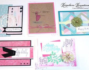 Handmade BIRTHDAY GREETING CARDS New Set of 5 - Stampin Up