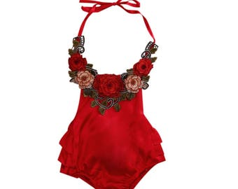 Floral lace baby girl romper