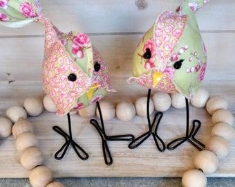Twin Fabric birds, Pink and green,  2 fabric birds, twins, cloth birdie, stuffed animal, bird collection, bird, birdie, pink birds