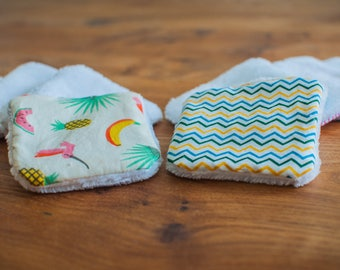 10 reusable washable cottons - cleansing and hygiene (tropical and wave design)