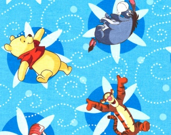 Winnie the Pooh, Eeyore, Tigger, Piglet Flower Swirls Characters on Blue Disney Cotton Fabric - FQ