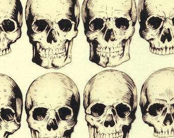 Alexander Henry Gothic Rad Skulls on Ivory 100% Cotton Fabric - FQ