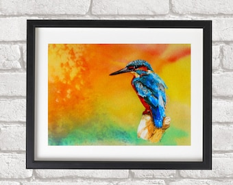 Contemporary Art Kingfisher Giclee  Fine Art Reproduction