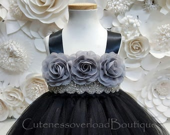 Black Flower Girl Tutu Dress-Black Tutu Dress-Black Girl Tutu-Black Wedding Tutu-Black Girl Tutu-Black Halloween Tutu.
