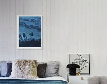 Landscape Art Acrylic Original // 27 × 39 cm on Acrylic Paper