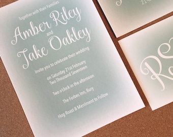 Colour Mist Wedding Invitation with matching RSVP - SAMPLE