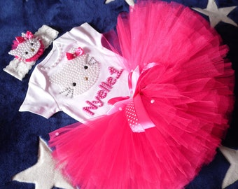 Hello Kitty first birthday outfit , Hello Kitty tutu set , first birthday girl outfit  pink birthday tutu , pink tutu , girl birthday outfit