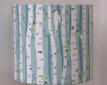 Handmade fabric lampshade for small table lamp, silver birch with woodpeckers, pale blue aqua background