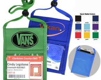"""100 Pcs Personalized Printed NECK Wallets Top Quality w/ 1 color LOGO/TEXT Custom wallet w/ Printed 3/8"""" Lanyard"""
