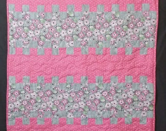 Baby Quilt/Baby Girl/Pink/Gray/ Flowers/Handmade Baby Quilt/ Machine Quilted/ Nursery Bedding/Handmade