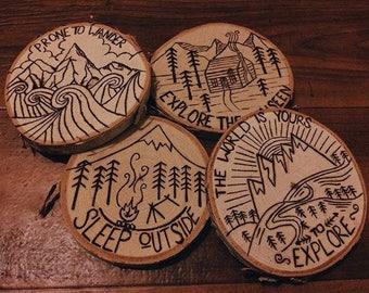 Wanderlust wooden coasters