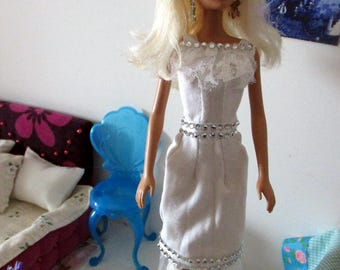 Dress for Barbie white with lace and glitter