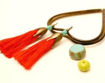 2 pom poms, red, Turquoise, Bronze Metal bead