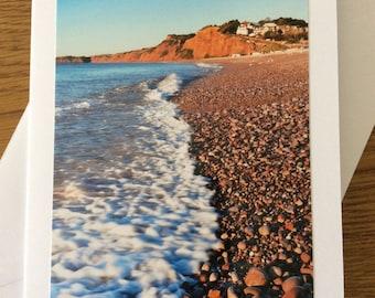Budleigh Salterton beach photography greetings card