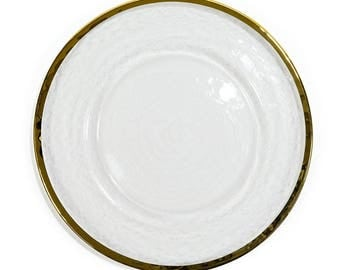 4 Gold / Silver Rimmed Round Glass Charger Plates