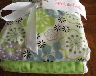 Sweet Amelia set of 2 gender neutral baby burp cloths