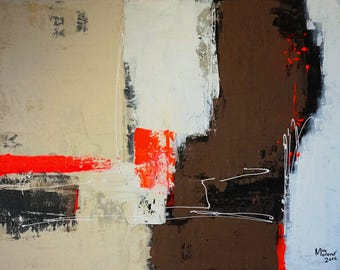 "MIA Moreno   Hand painted acrylic painting on canvas ""Create Orange"" 60 x 80"