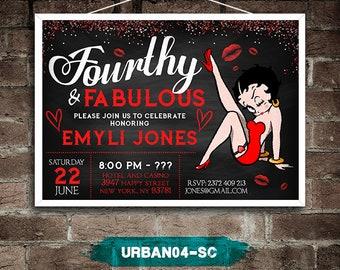 Betty Boop Invitation, Betty Boop Birthday Party, Betty Boop Birthday Invitation, Betty Boop Invite Urban04-SC