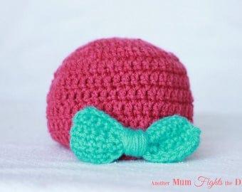 Crochet Baby Girl Hat with Bow / Girl Bow Hat / Baby Shower Gift / Newborn Crochet Hat / Baby Beanie