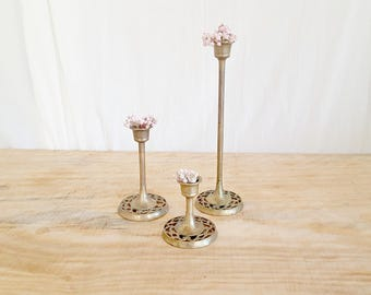 vintage brass candlestick holders | lace tulip candle holders | ornate brass