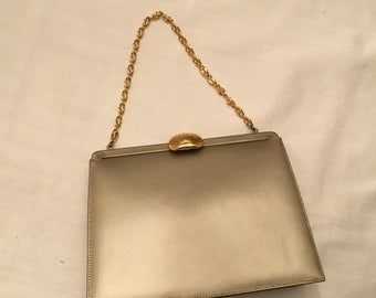 Andrew Geller Gold Leather Evening Bag