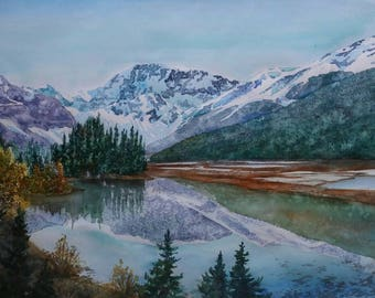 Canadian Rockies Watercolor Signed Print 12'X16' Gifts under 60 Mountains