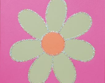 Handpainted Daisy Canvas with glitter detail