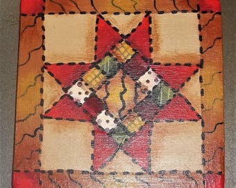 Hand Painted OOAK Wood Magnet Quilt Star