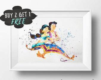 Princess Jasmine Art Print Poster, Disney Jasmine Aladdin Wall Art Watercolor, Nursery Decor Printable Download, Disney Princess Jasmine Art